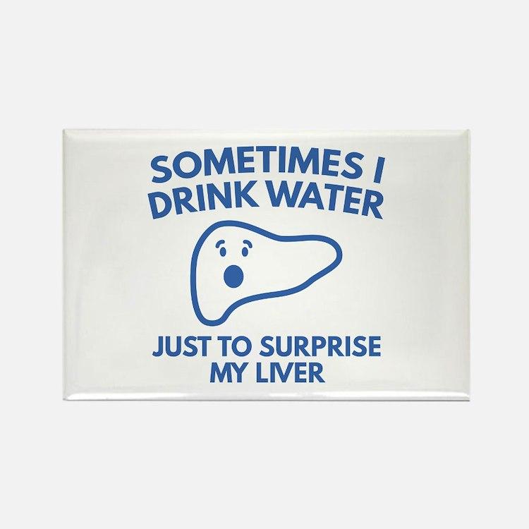 Sometimes I Drink Water Rectangle Magnet