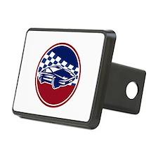 Sports Car Racing Chequered Flag Circle Retro Hitc