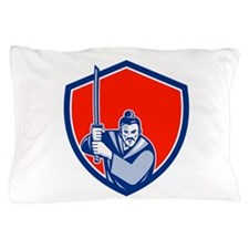 Samurai Warrior Katana Sword Shield Retro Pillow C