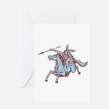 Valkyrie Warrior Riding Horse Spear Etching Greeti