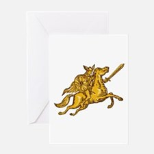 Valkyrie Warrior Riding Horse Sword Etching Greeti