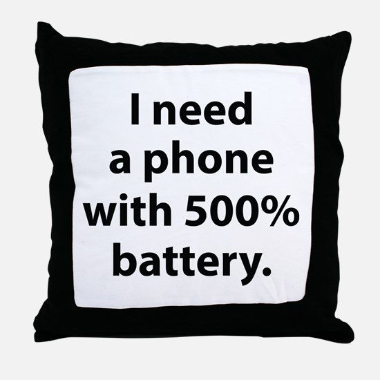 500 Percent Battery Throw Pillow