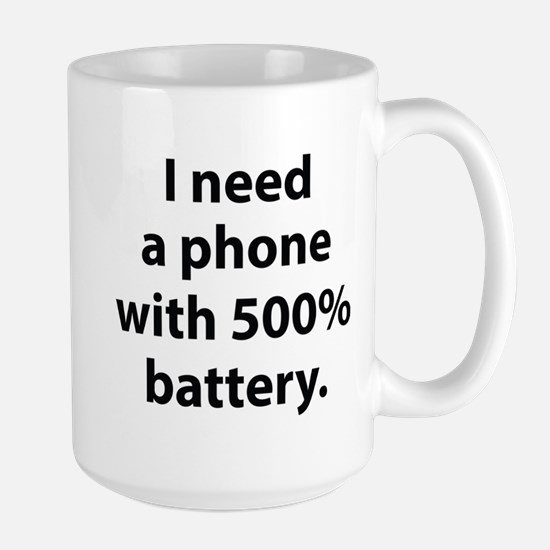 500 Percent Battery Large Mug