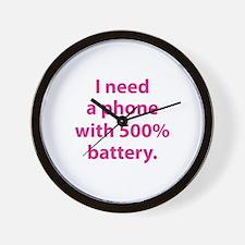 500 Percent Battery Wall Clock