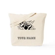 Bowling Ball Striking Pins Tote Bag