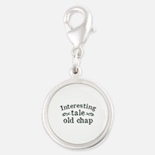 Interesting Tale Old Chap Silver Round Charm