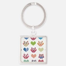 Owls hearts multi color Square Keychain