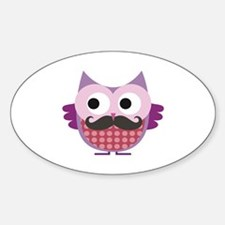 Mustachioed owl, Purple Sticker (Oval)