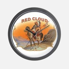 Vintage Cigar Label Art; Red Cloud Indi Wall Clock