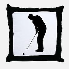 Golfer Putting Throw Pillow