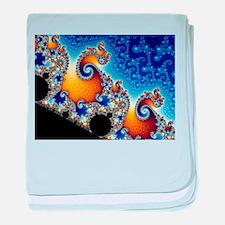 Mandelbrot Blue Double Spiral Fractal baby blanket