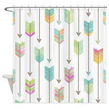 Watercolor Arrows Pattern Shower Curtain