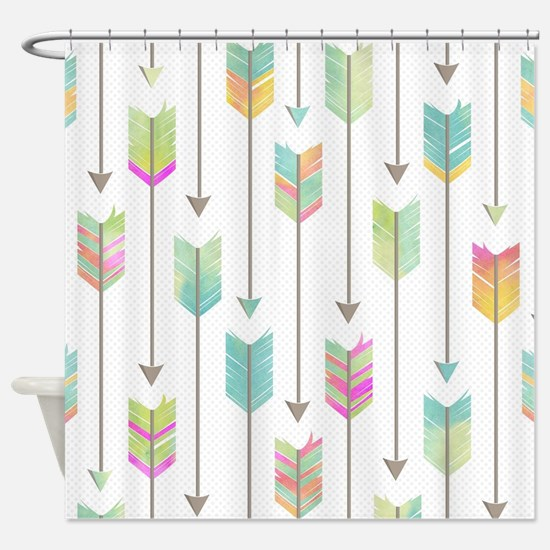 Watercolor Arrows Pattern Shower Curtain