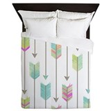 Hipster watercolor dreamcatcher feather Queen Duvet Covers