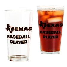 Texas Baseball Player Drinking Glass