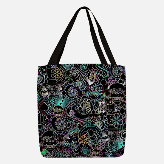 Cute Skulls Polyester Tote Bag
