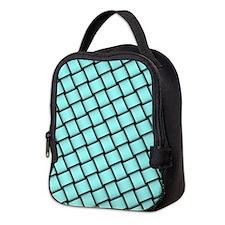 aqua basket weave design Neoprene Lunch Bag