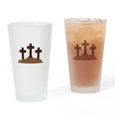 Three Crosses on the Hill Drinking Glass