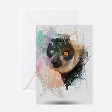 Water Splash Lemur Abstract Greeting Card