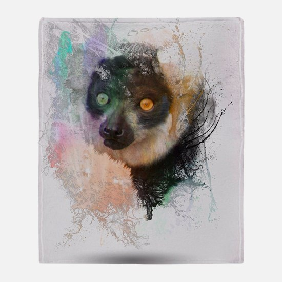Water Splash Lemur Abstract Throw Blanket