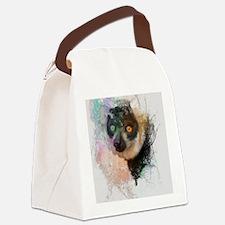 Water Splash Lemur Abstract Canvas Lunch Bag