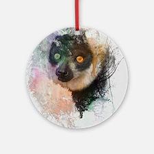 Water Splash Lemur Abstract Round Ornament