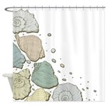 Green And Gold Sea Shells Shower Curtain