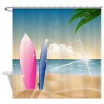 Surfboards On The Beach Shower Curtain