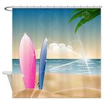 Surfboards On The Beach Shower Curtain
