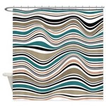 Abstract Waves In Southwest Blue Shower Curtain