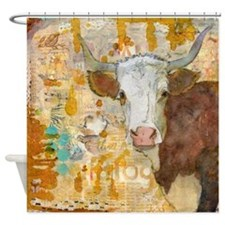 Steer Stare Animal Bathroom Shower Curtain
