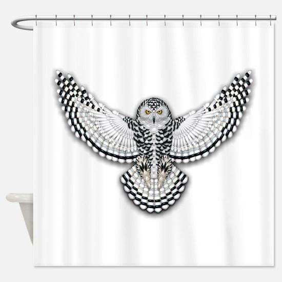Beadwork Snowy Owl Shower Curtain