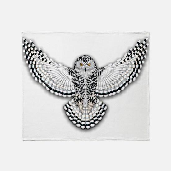 Beadwork Snowy Owl Throw Blanket