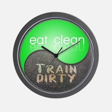 eat clean 12x12 circle Wall Clock