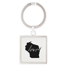 Love Wisconsin Square Keychain