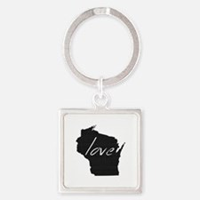 Love Wisconsin Square Keychain