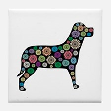 dog flower Tile Coaster