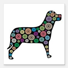 "Dog Flower Square Car Magnet 3"" X 3"""