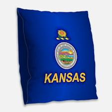 Kansas (v15) Burlap Throw Pillow