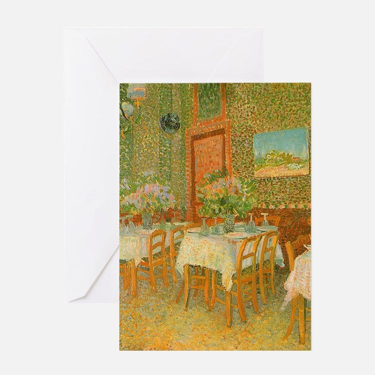 Van Gogh Interior of a Restaurant Greeting Cards