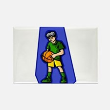 Kid with Ball Rectangle Magnet