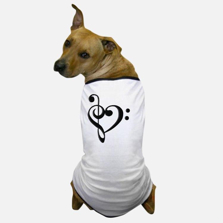 Music Clef Heart Dog T-Shirt