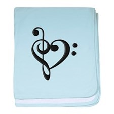 Music Clef Heart baby blanket