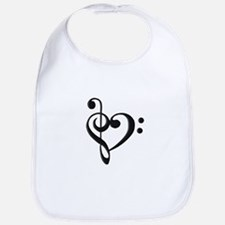 Music Clef Heart Bib