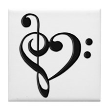 Music Clef Heart Tile Coaster