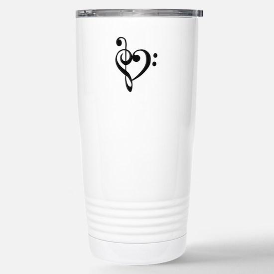 Music Clef Heart Stainless Steel Travel Mug
