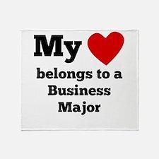 My Heart Belongs To A Business Major Throw Blanket