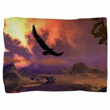 Awesome fantasy landscape with flying eagle Pillow
