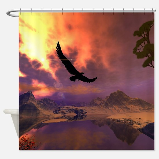 Awesome fantasy landscape with flying eagle Shower