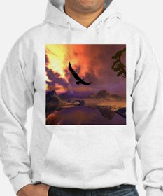 Awesome fantasy landscape with flying eagle Hoodie